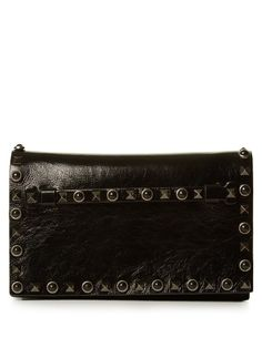 VALENTINO Rockstud Rolling Leather Clutch. #valentino #bags #shoulder bags…