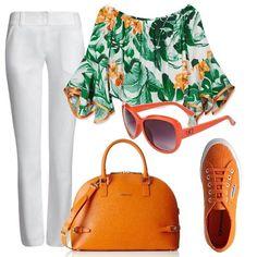 Una maglia con scollo alla Carmen, in una vivace fantasia tropicale, viene proposta con un paio di pantaloni bianchi aderenti. le scarpe sono delle sneakers in tela color arancio, come la borsa bauletto e gli occhiali da sole.