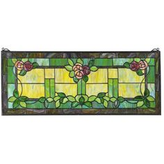 """Design Toscano Rose Trellis Stained Glass Window at Lowe's. The Art and Crafts movement, inspired by the writings of John Ruskin, who promoted simple shapes and """"true to nature"""" artistic style featuring clean Stained Glass Lamps, Stained Glass Panels, Window Hanging, Window Panels, Wooden Trellis, Rose Trellis, Rose Vines, Italian Art, Arts And Crafts Movement"""
