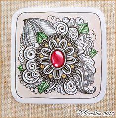 Zentangle gem, watercolor, liner, Viktoriya Crichton.