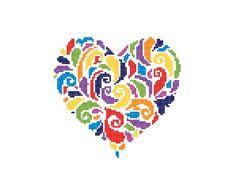 Swirly Heart Cross Stitch Pattern PDF Instant by KnitSewMake
