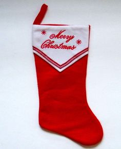 Red Merry Christmas Stocking Embroidered Letters Snowflakes 19 in. Home Elements #TrimAHome