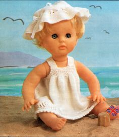 Pattern from unknown source. Baby Knitting Patterns, Knitting Stitches, Doll Patterns, Free Knitting, Knitting Ideas, Clothing Patterns, Baby Doll Clothes, Baby Dolls, Dolly Fashion