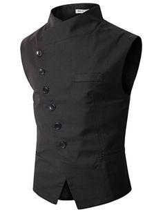 Doublju Mens Slim Vest  with Asymmetry Button BLACK (US-XL)