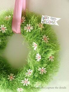 Spring babygrass wreath close up