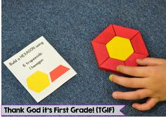 "Free ""build a shape"" center cards using pattern blocks!"