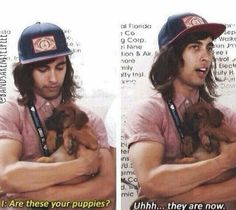 I loved this interview!! It's so cute and how he holds the puppies and ugh too cute. XD