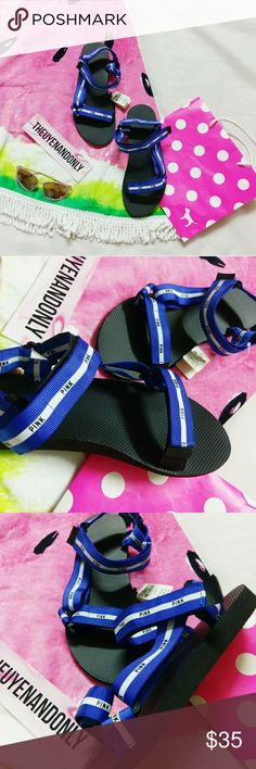 NWT VS PINK Slide Velcro Sandals *LIMITED ED* *RUDE COMMENTS WILL BE REPORTED & BLOCKED* --- Victoria's Secret PINK Slide Sandals   Tag says size is LARGE, which fits 9 and 9.5 and 10  NEW WITH TAGS  NO BOX  **ACCESSORIES ARE NOT INCLUDED  Price discuss using the offer button only  Please keep in mind, Posh charges 20% fee.  PINK is no longer made this item, i'm having a hard time letting this go :(  FREE SHIP on my e.b.a.y. PINK Victoria's Secret Shoes Sandals