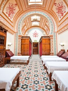 Harrogate Turkish Baths, England Love the tiling and patterns in there. East Yorkshire, Yorkshire England, Bettys Harrogate, Spa Breaks, Turkish Bath, Weekend Breaks, England And Scotland, Hotel Spa, Lake District