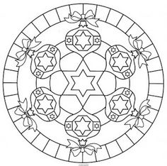 Christmas ornament mandala ... I really like this ... what a pretty embroidered candle mat it would make!  :)
