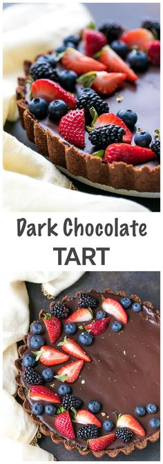 Dark Chocolate Tart Recipe - decadent and beautiful dessert, perfect for chocolate lovers. Chocolate graham cracker crust, chocolate filling and chocolate ganache - three layers of dark chocolate goodness. Topped with fresh berries.