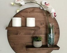 17 Remarkable DIY Round Shelf Designs To Adorn Your Empty Walls is part of Diy wall decor - Minimalism is rightly extremely popular style in interior, especially if you consider the simplicity and purity while decorative elements that we have Diy Wall Decor, Diy Home Decor, Wall Decorations, Round Shelf, Living Room Decor, Bedroom Decor, Mirror Bedroom, Bedroom Ideas, Regal Design