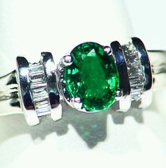 1.14CT 14K GOLD NATURAL EMERALD WHITE ROUND CUT DIAMOND HALO ENGAGEMENT RING in Jewelry & Watches, Engagement & Wedding, Engagement Rings | eBay