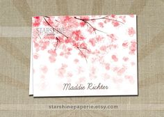 Cherry Blossom INSTANT DOWNLOAD Editable Personalized A2 Folded Fill-In Blank Pink Flowers Notecard Birthday Kids Stationery - Maddie