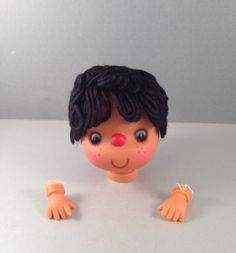 Doll Head with Black Hair and Tan Skin with Hands by Oldtonewjewels on Etsy