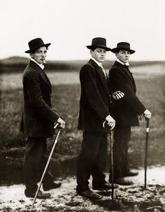 Three Young Farmers in Sunday Dress, Westerwald, 1914.