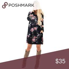 """Dress me up"" floral midi dress •long sleeve  •midi dress  •floral print  •black background  •100% cotton Dresses Midi"