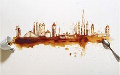 La artista de las manchas de #café #arte #ilustración #CoffeeArt