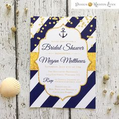 Nautical, Navy and Gold, Bridal Shower Invitation (PRINTED FILE) by DesignbyKristinLynn on Etsy