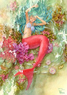 Mermaid is taking a nap by ~efira-japan Traditional Art / Drawings / Fantasy ©2008-2012 ~efira-japan