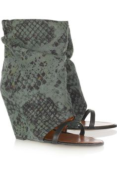 F that red sole noise. Isabel Marant Yoyo python-print open-toe canvas boots. No one would f w/ me!