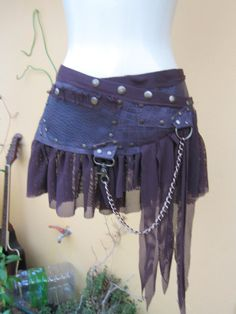 """tribal leather mini skirt/belt with pocket,lace and stud detail....38"""" to 44"""" hip or waist..."""
