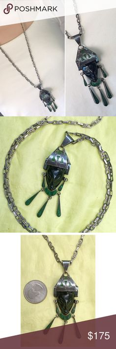 "Old Aztec Malachite Inlay Onyx Sterling Necklace Beautiful hand detailed Taxco Mexico Pre-Columbian Aztec Figural necklace Carved onyx face with sterling silver and malachite inlay and enamel headdress 29.5"" hand designed necklace Large standout 3-1/4"" pendant / well cared for with no damage on Inlay or enamel; just heavy patina and surface wear consistent with age Pendant and necklace hallmarked Mexico 925 and I can't read the Taxco TG city/factory number Vintage Jewelry Necklaces"