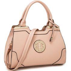 Dasein Goldtone Emblem Handbag with Removable Shoulder Strap - Overstock™ Shopping - Great Deals on Dasein Shoulder Bags