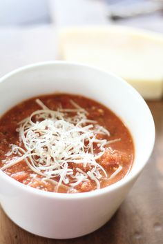 Creamy Tomato Parmesan Soup from Dashing Dish *YUM*  Calories: 103 Calories per Cup     Servings: 8 g Carbohydrate per Cup     Nutrient Breakdown: 8 g Carbohydrates, 2 g Fiber, 8 g Protein, 6 g Fat, 3 g Sugar     Weight Watchers Points Plus Value: 2 PP per Serving