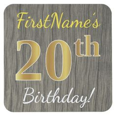 Faux Wood Faux Gold 20th Birthday  Custom Name Square Paper Coaster - rustic gifts ideas customize personalize