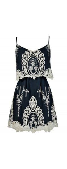 Macrame Antique Lace Navy and Beige Designer Dress https://www.lilyboutique.com