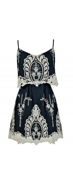 Macrame Antique Lace Navy and Beige Designer Dress  www.lilyboutique.com