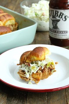 These BBQ Chicken Sliders with Dill Pickle Slaw are perfect for your next tailgate or a casual dinner with friends. Plus they're made right in the slow cooker! Chicken Sliders, Bbq Chicken, Chicken Recipes, Turkey Recipes, Pork Recipes, Keto Recipes, Recipies, Great Recipes, Dinner Recipes