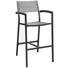 Maine Bar Stool Outdoor Patio Set of 2 in Brown Gray - Modway Modern Outdoor Bar Stools, Patio Bar Stools, Patio Dining, Bar Chairs, Dining Set, Dining Chairs, Pink Chairs, Patio Chairs, Office Chairs