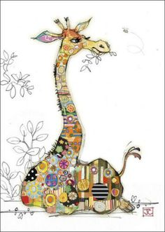 Gorgeous card with Gerry Giraffe in patckwork design and gold foil detail from Bug art cards.Each card is blank inside and comes with a good quality envelope. Applique Patterns, Applique Designs, Quilt Patterns, Pintura Graffiti, Afrique Art, Giraffe Art, Giraffe Pattern, Bug Art, Whimsical Art