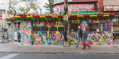 This is an engagement session shot at the Kensington Market in ...