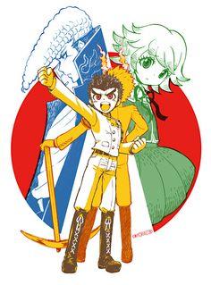 Mondo, Kiyotaka, and Chihiro Danganronpa Chihiro, Danganronpa Memes, Danganronpa Characters, Ishimaru Kiyotaka, Byakuya Togami, Danganronpa Trigger Happy Havoc, Anime, Fandoms, Fan Art
