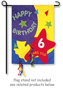 """Count the Birthday Years Garden Flag from Evergreen for Birthday Celebrations ages 1 to 100. Applique Garden size decorative flag with """"Interchangable Numbers"""" that velcro to the flag to change ages for the whole family. Garden flag size is 13"""" Wide x 18.5""""."""