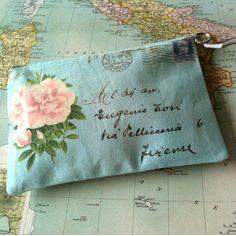 pouch, postcard.