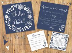 Printable Wedding Invitation Set  Navy & White by GOTMEPEGGED