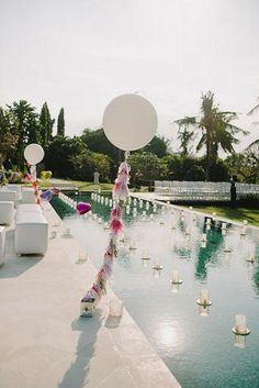 Pool Decor Ideas For Your Backyard Wedding ★ wedding pool party decoration ideas with white candles scott surplice Pool Wedding Decorations, Wedding Themes, Wedding Ideas, Wedding Receptions, Wedding Dresses, Bali Wedding, Destination Wedding, Wedding Bride, Party Planning