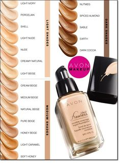 Ideal Flawless Invisible Coverage Liquid Foundation: Perfection without detection. INVISIBLEND TECHNOLOGY. Avon's exclusive patent-pending technology with skin-matching pigments in various sizes and shapes, softens light from every angle for perfectly invisible coverage.Shop online @(www.youravon.com/my1724) or click on the pin!!