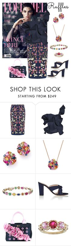 """Johanna Ortiz Dama Danzante ruffled top"" by horcal ❤ liked on Polyvore featuring Needle & Thread, Johanna Ortiz, Bloomingdale's, Blue Nile, Barneys New York and Muveil"