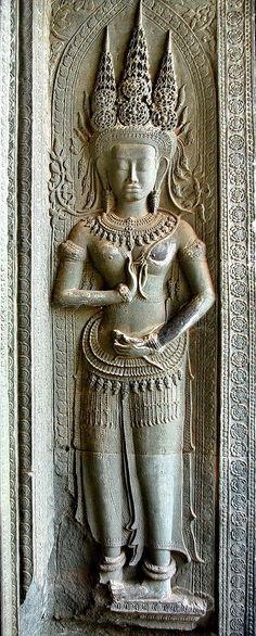 Devata, Angkor Wat, 12th c. Siem Reap  I think this may be an Apsara, I forgot how to distinguish them