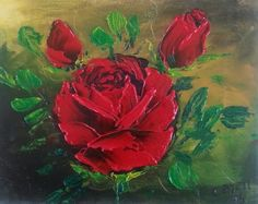 Red roses by Caren. Oils