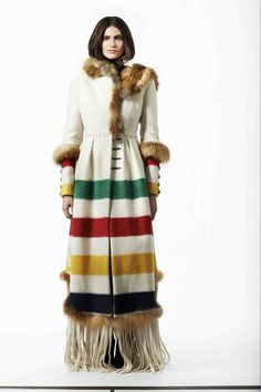 """Point Blanket coat with fur accents, by """"Harricana par Mariouche"""" - La Compagnie de la Baie d'Hudson/HBC Capote Coat, Hudson Bay Blanket, Looks Style, My Style, Native American Clothing, Blanket Coat, We Are The World, Coat Patterns, Ideas"""