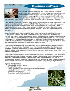 "This fact sheet presents ""need to know"" information for parents and teens about marijuana use in our country - the signs, dangers, and health effects.Find over 330 learning activities at the Health EDventure store. Health And Nutrition, Health Tips, Paper Making Process, Middle School Health, Sea Plants, Sea Vegetables, Bone Health, Learning Resources, Seaweed"