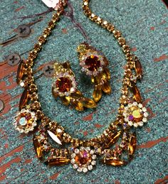 UnSigned D & E Designer JULIANA Line Vintage 1960's TOPAZ Rhinestone Earrings with Similar CHOKER Necklace by IncogneetoVintage on Etsy