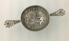 Antique Dutch Silver Two Handle Pierced Family Setting Tea Strainer