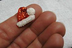 Mini gorro de natal em Biscuit c/glitter